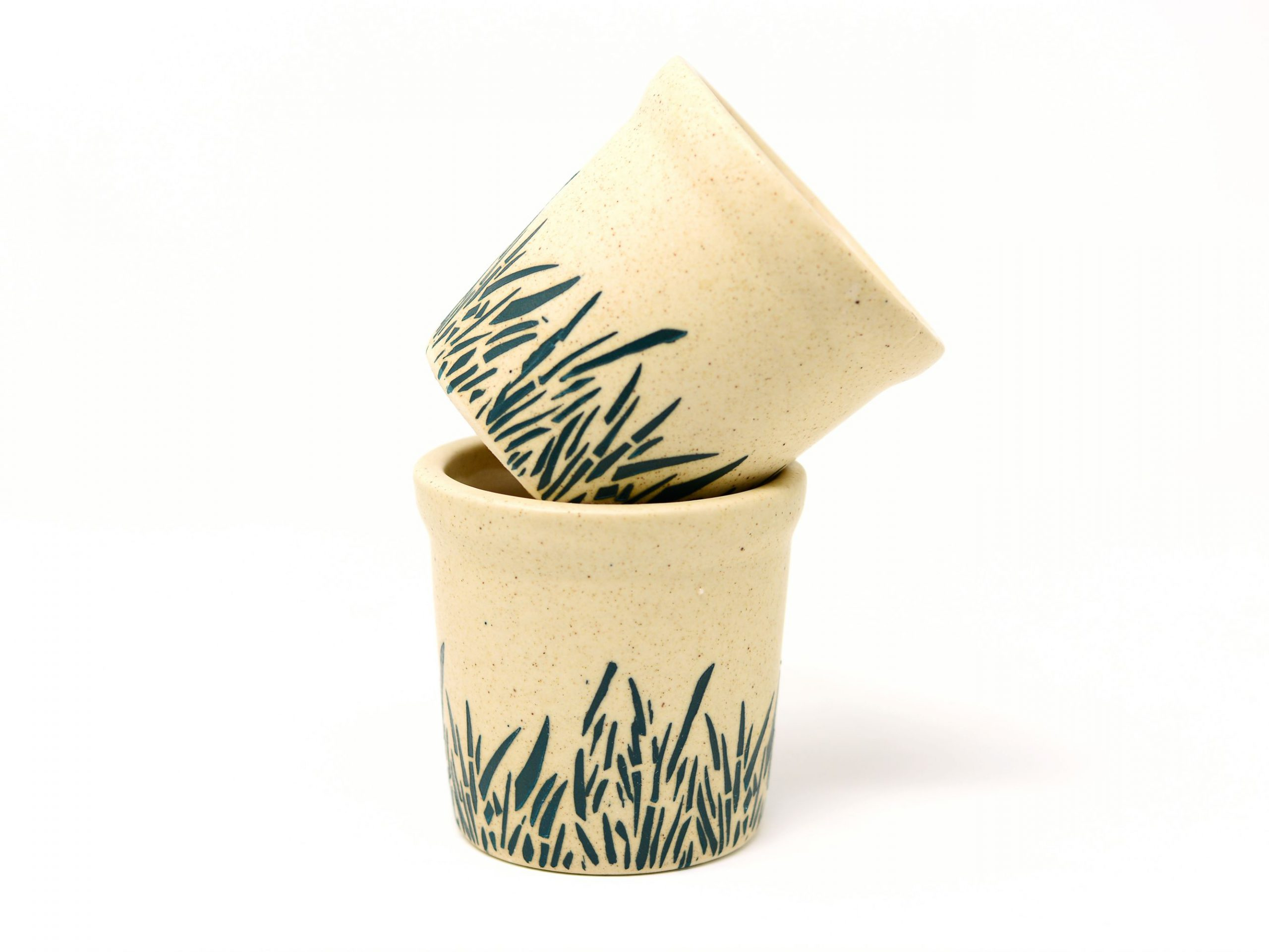 Decorative Ceramic Pot Planter - Grass Textured (Set of 2)